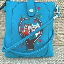 Turquoise Owl Cross body Bag with Smart Phone Spectacle Holder Long Strap
