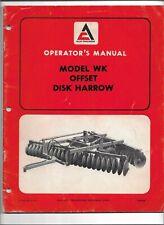 Original Allis Chalmers Model Wk Offset Disk Harrow Operators Manual Form Tm 500