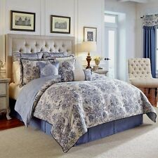 Croscill Amelia 4-Piece Comforter Set, Blue and Ivory Damask Pattern - Queen