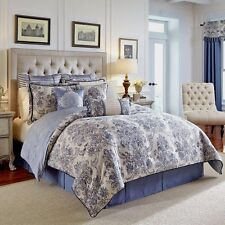new amelia 4piece comforter set blue and ivory damask pattern queen
