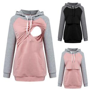 Womens Pregnancy Maternity Hooded Sweatshirt Nursing Breastfeeding Jumper Tops