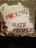 """I F*cking Hate People"" Cushion Cover Hidden Message Silver Sequin Mermaid"