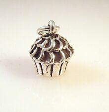 .925 Sterling Silver 3-D CUPCAKE CHARM Pendant Dessert Bake Muffin NEW 925 KT44