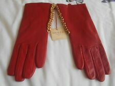 """""""DENTS"""" DESIGNER FABULOUS RED LEATHER GLOVES WITH GOLD CHAINS - NEW WITH TAG!!!"""