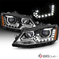 For 11-16 Jetta MK6 Sedan (Halogen Model) Black DRL LED Projector Headlights