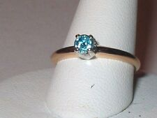 VINTAGE 14K .25Ct BLUE RD DIAMOND SIMULANT SOLITAIRE ENGAGEMENT PROMISE RING S7