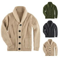 Mens Cardigan Chunky Collar Sweater Shawl Knitted Jumper Coat Warm Jacket Tops B