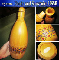 Vintage Wooden bottle of the 1970s USSR, a large height of 34 centimeters