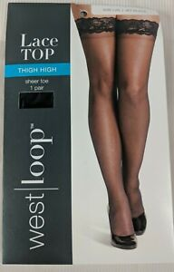 West Loop Lace Top Thigh High Sheer Toe Hose Size L/XL Jet Black New