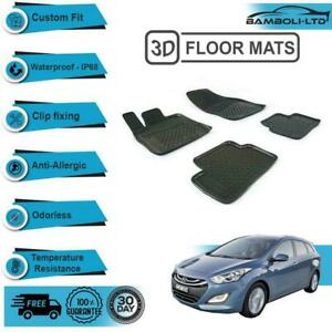 4 Pcs 3D Premium Quality 3D Floor Mats FIT Hyundai i30 2012-2018 (Black)