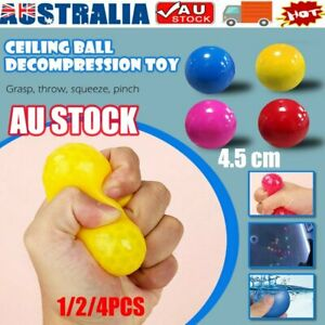 1/4PC Fluorescent Sticky Wall Ball Sticky Target Ball Decompression Toy Kid RO