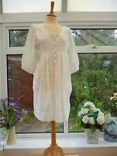 STUNNING *WHISTLES* SHORT WHITE FINE COTTON TUNIC SUMMER DRESS WITH POCKETS 12