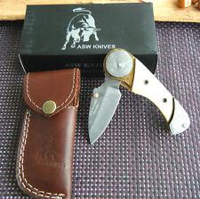 Damast Messer Taschenmesser Kamelknochen Jagdmesser Folding knife 232 Gramm Neu.