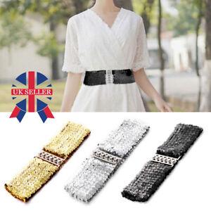 Women Ladies Sequin Fashion Belt Women Glitter Sparkly Waist Belt ElasticStretch