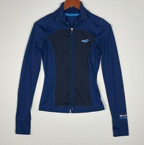 Hollister Sport Zip Up Athletic Blue Jacket Mock Neck with Thumbholes Women's XS