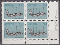 "CANADA #930 50¢ Artifacts ""Sleigh"" LR Inscription Block MNH"