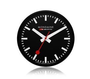 MONDAINE A990.CLOCK.64SBB Wall Clock Swiss Railway Black Dial, Diameter 25cm