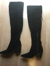 Aldo Haskova Black Suede OTK Boot Stacked Heel Lace Back Pointy Toe $220 Size 39