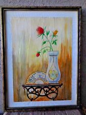 "Original Art Rinciari Fresco (Aqua Media) Oriental Fan,Vase, and Roses 18""x 24"""
