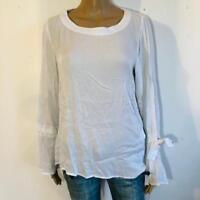 Conleys Blue ~ tolle Bluse in weiß mit Schleifchen am Arm ~  Gr 36 S  2630N