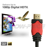 Premium Braided High Speed HDMI Cable v1.4 3D 1080P, 3ft 6ft 10ft 15ft 25ft 30ft