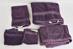 5 Pc. Duet Eggplant 100% Cotton Towel Set W/Bath Hand Washcloth & Shower Towels