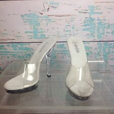 Frederick's Of Hollywood Clear Mules Heels 5 Pageant Platform Womens Shoes