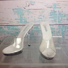 Frederick's Hollywood Clear Platform Mules Slip On Heels 5 Pageant Shoes Lucite