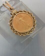 14K Yellow Gold Rope Necklace 1/10 oz  900 Liberty MXMLXXXVI Gold Coin G34