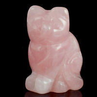 Natural Rose Quartz Crystal Carved Mixed Gemstone Cat Figurine Home Decor Reiki