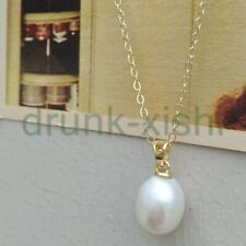 """10x12mm South Sea Baroque White Pearl Pendant +necklaces 19"""" 14k Gold P Clasp"""