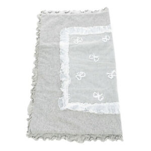 RRP€240 LADIA Wool Knitted Blanket Melange Lace & Ruffle Trim Bows Made in Italy