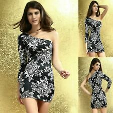 Sz 8 10 Black Single Long Sleeve Floral Dance Club Party Cocktail Slim Fit Dress