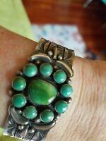Vintage sterling silver turquoise cuff bracelet
