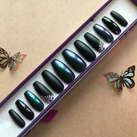 Hand Painted False Nails XL Coffin or XL Stiletto Black & Purple Teal Chameleon