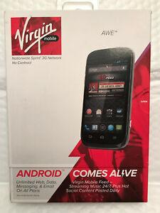 ZTE Awe N800 4GB Black Virgin Mobile Prepaid Smartphone Network Locked NIB