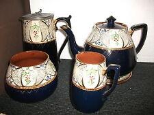 antique tea set (tea pot & stand,pewter lidded water jug,milk jug & sugar bowl)