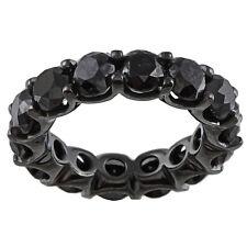 3.50 Carat Natural Black Diamond Full Eternity Wedding Band Ring 14K Black Gold