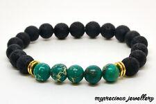 Natural Turquoise Volcanic Lava Gemstone Bracelet Healing Elasticated Reiki Gift
