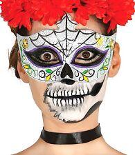 Giorno dei morti Catrina completa testa lattice adulto Halloween Fancy Dress