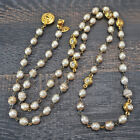 CHANEL Gold Plated CC Logos Imitation Pearl Necklace Pendant #7069a Rise-on