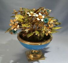 Jane Hutcheson Jewel Enamel Flowers Blue Opaline Glass Gilt Ormolu Mounted Vase