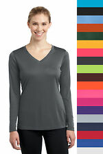 Ladies Dry Fit Long Sleeve V-Neck Sport Tek Moisture Wicking T Shirt LST353LS