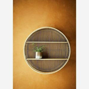 Wall Hung 2 Tier Bamboo Shelf, Round Mid Century Modern Shelving Display Unit