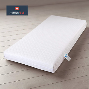 MotherPlus™ Waterproof Baby Toddler Cot Bed Mattress - Zipped & Removable Cover