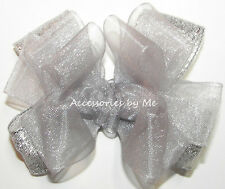 Silver Hair Bow Organza Metallic Solid Small Alligator Clip Flower Girl Occasion