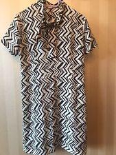 MARNI for H&M Iconic Ivory/Brown Silk Zig Zag Tribal Printed Dress size EU34 UK8