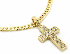 "Mens 14k Gold Plated Thick Cz Cross Pendant Hip-Hop 24"" Cuban Necklace Chain M1"
