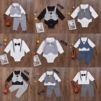 Newborn Baby Boys Gentleman Clothes Kids T-shirt Tops+Pants Outfits Romper Set