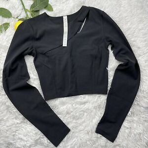 Lululemon Aligned Angles Black Nulu Long Sleeve Crop Top Size 2